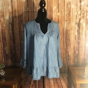 Gap jean Chambray swing hippy style top size XL!